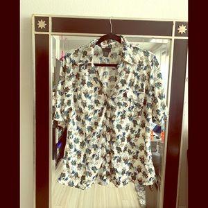 Torrid collard blouse w/floral print
